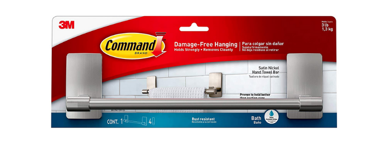 Command Satin Nickel Bathroom Hand Towel Holder Bar