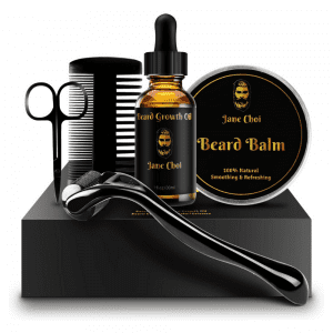 Jane Choi Beard Grooming Kit with Derma Roller for Beard Growth Beard Balm Comb and more