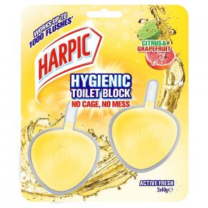 Harpic Hygienic Toilet Block Twin pack in Citrus and Grapefruit