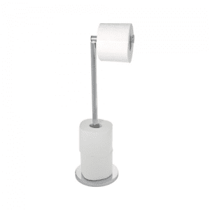 WENKO Stainless Steel Freestanding Toilet Roll Storage Holder and