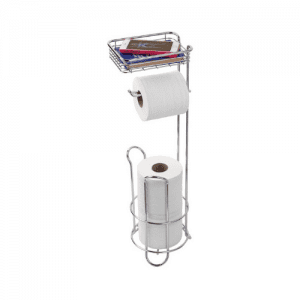 iDesign 3-in-1 Toilet Roll Holder Stand Dispenser and Small Shelf